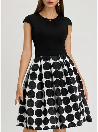 Geometric Print PolkaDot A-line Midi Vintage Elegant Dresses