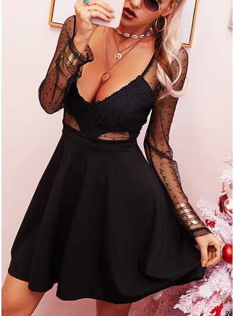 Lace Solid A-line Long Sleeves Mini Little Black Sexy Skater Dresses