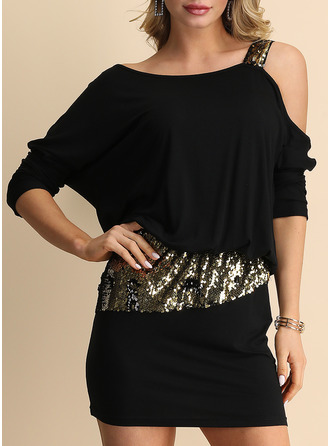 Sequins Solid Bodycon Long Sleeves Mini Little Black Party Sexy Dresses