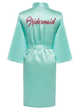 Personalized Bride Bridesmaid charmeuse With Knee-Length Floral Robes