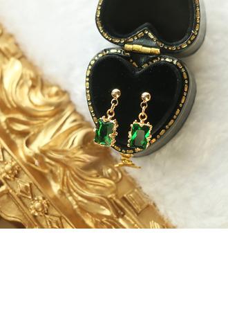 Senhoras Vintage Banhado a ouro/Bronze com Cúbico Zirconia cúbico Brincos Ela/Amigos