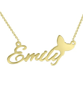 Custom 18k Gold Plated Silver Name Necklace With Butterfly