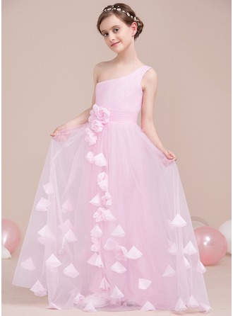 A-Line/Princess One-Shoulder Floor-Length Tulle Junior Bridesmaid Dress With Ruffle Flower(s)