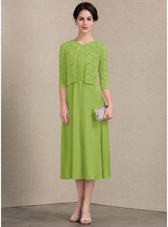 A-Linie/Princess-Linie U-Ausschnitt Wadenlang Chiffon Kleid für die Brautmutter mit Rüschen