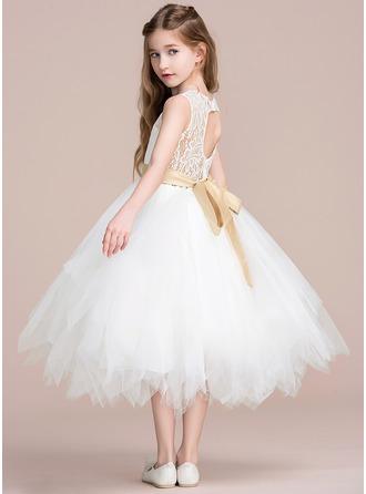 A-Line Tea-length Flower Girl Dress - Tulle/Lace Sleeveless Scoop Neck With Sash/Back Hole (Detachable sash)