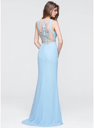 Trumpet/Mermaid Scoop Neck Sweep Train Chiffon Prom Dress With Beading Sequins