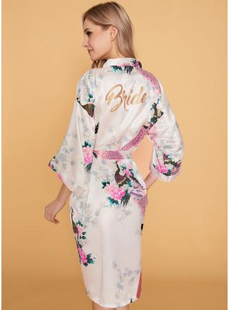 Silke Brud Brudepige Floral Robes Glitter Print Robes