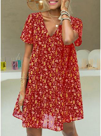 Floral Print Shift Short Sleeves Mini Casual Tunic Dresses
