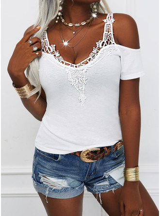 Solid Cold Shoulder Short Sleeves Sexy Blouses