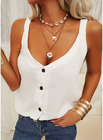 Solid Spaghetti Straps Sleeveless Button Up Casual Tank Tops
