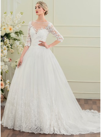 Ball-Gown Scoop Neck Chapel Train Wedding Dress With Beading Sequins