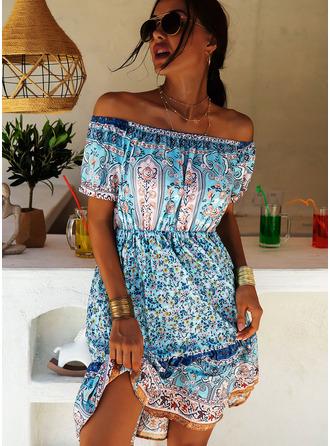 Print A-linjeklänning Korta ärmar Mini Boho Fritids Semester skater Modeklänningar
