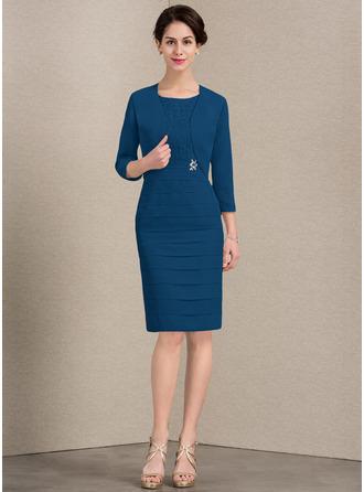 Etui-Linie U-Ausschnitt Knielang Chiffon Spitze Kleid für die Brautmutter mit Perlstickerei Pailletten