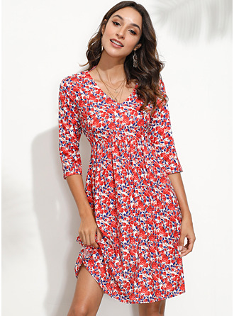 Floral Print Shift Long Sleeves Mini Casual Elegant Tunic Dresses
