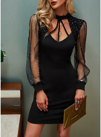Sequins Solid Bodycon Long Sleeves Mini Little Black Elegant Dresses
