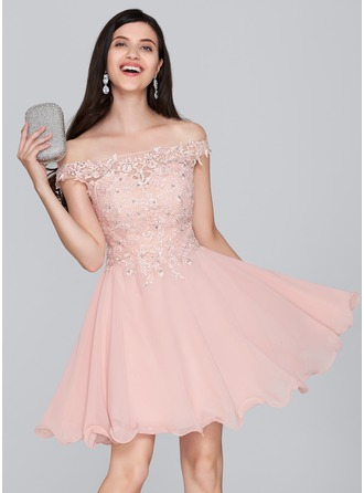 A-Linie/Princess-Linie Off-the-Schulter Kurz/Mini Chiffon Ballkleid mit Perlstickerei Pailletten