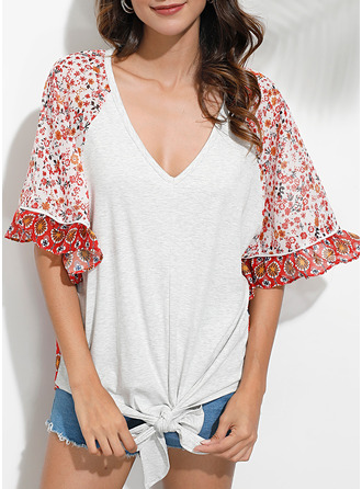 Floral Print V-Neck 3/4 Sleeves Batwing Sleeves Casual