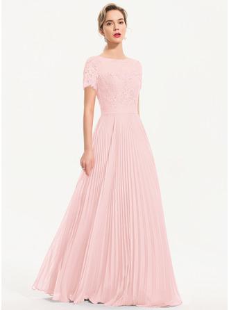 A-Line Scoop Neck Floor-Length Chiffon Evening Dress