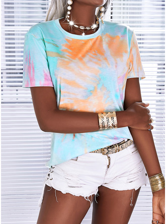 Tie Dye Round Neck Short Sleeves Casual T-shirt