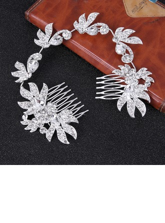 Ladies Glamourous Alloy Combs & Barrettes With Rhinestone (Sold in single piece)