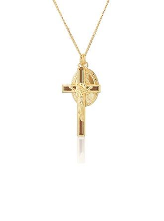 Argento placcato in oro 18 carati Religioso Collana croce