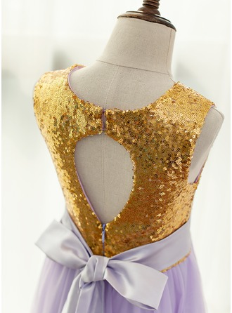 A-Line/Princess Floor-length Flower Girl Dress - Satin/Tulle Sleeveless Scoop Neck With Back Hole (Detachable sash)