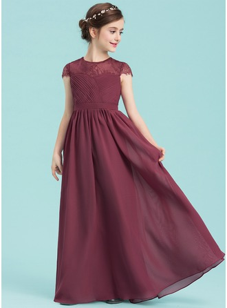 A-Line/Princess Scoop Neck Floor-Length Chiffon Junior Bridesmaid Dress With Ruffle Lace