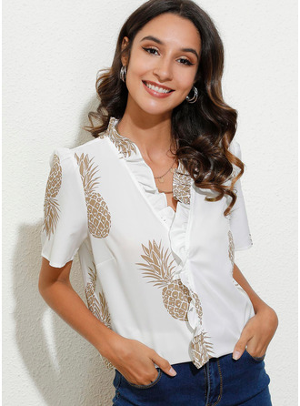 Print Short Sleeves Polyester V Neck Blouses