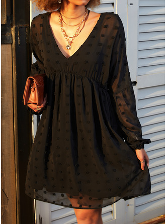 Solid Shift Long Sleeves Mini Little Black Elegant Tunic Dresses (294253720)