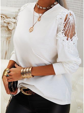 Beaded Lace Solid Round Neck Long Sleeves Elegant Blouses