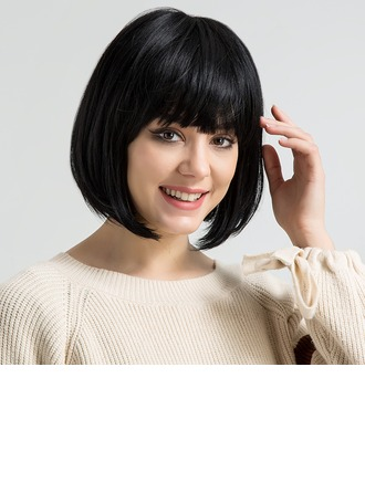 Kinky Straight Human Hair Blend Human Hair Parykker 120g