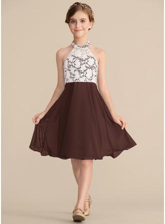Vestidos princesa/ Formato A Decote redondo Coquetel Tecido de seda Renda Vestido de daminha júnior