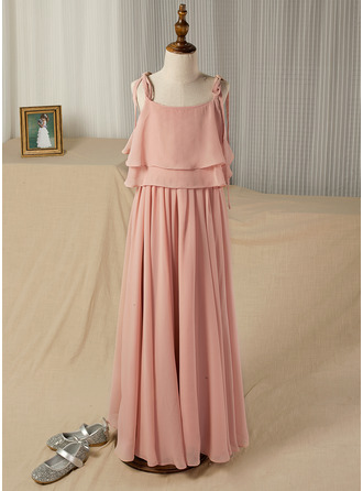 A-Line/Princess Floor-length Flower Girl Dress - Chiffon Sleeveless Square Neckline/Straps With Ruffles