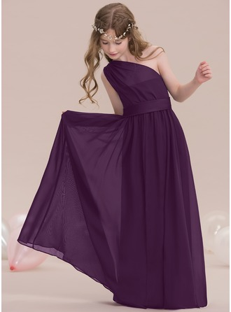 A-Line/Princess One-Shoulder Floor-Length Chiffon Junior Bridesmaid Dress With Ruffle
