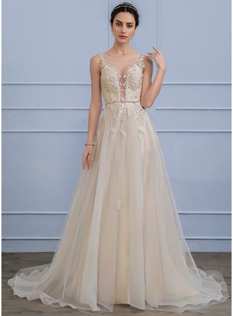 A-Line Illusion Sweep Train Tulle Wedding Dress With Beading Sequins