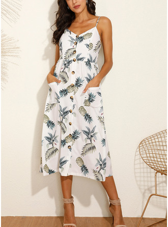 Print A-line Sleeveless Midi Casual Vacation Skater Type Dresses