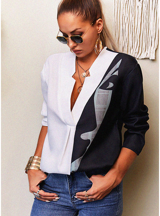 Color Block Print V-Neck Long Sleeves Casual Blouses