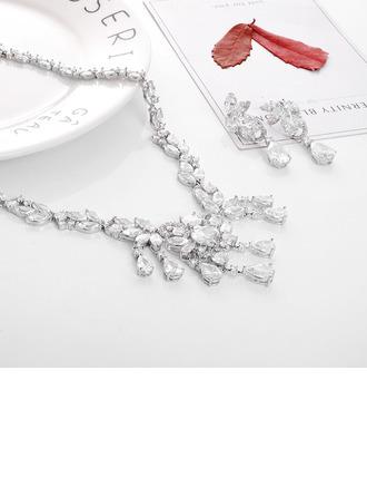 Senhoras Elegante Cobre/Platinadas com Cúbico Zirconia cúbico Conjuntos de jóias Ela/Noiva