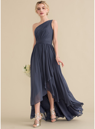 A-Line/Princess One-Shoulder Asymmetrical Chiffon Evening Dress With Cascading Ruffles