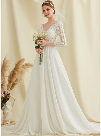 A-Line V-neck Court Train Chiffon Lace Wedding Dress