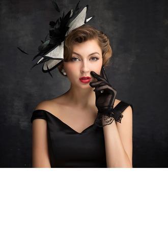 Señoras' Elegante Pluma/Tul/Lino con Pluma Tocados/Derby Kentucky Sombreros/Sombreros Tea Party