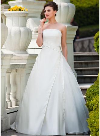 Платье для Балла Без лямок Церемониальный шлейф Атлас Органза Свадебные Платье с Рябь Бисер блестками