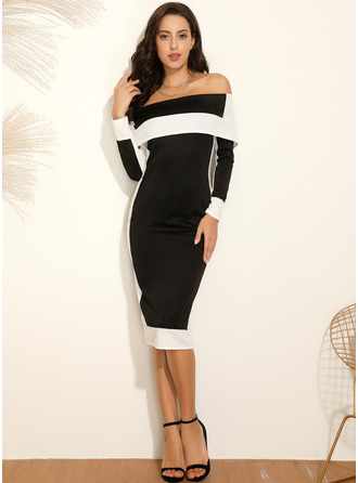 Color Block Sheath Long Sleeves Midi Party Elegant Dresses