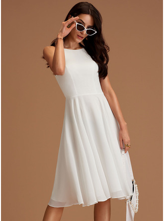 Scoop Neck Ivory Chiffon Chiffon Dresses