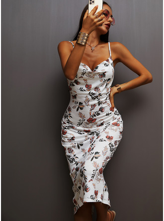 Floral Print Sheath Sleeveless Midi Party Casual Sexy Vacation Type Dresses