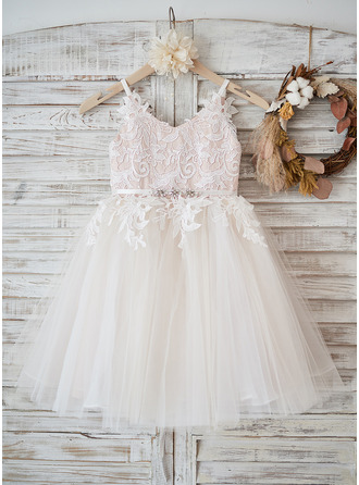 A-Line Straps Knee-length Tulle/Lace Sleeveless Flower Girl Dress