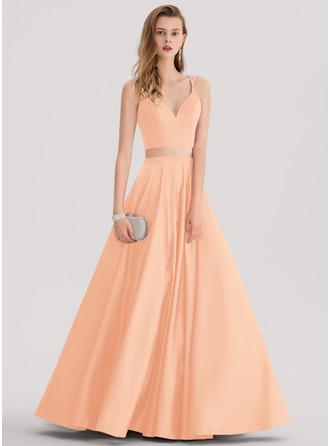 Ball-Gown/Princess Sweetheart Floor-Length Satin Prom Dresses