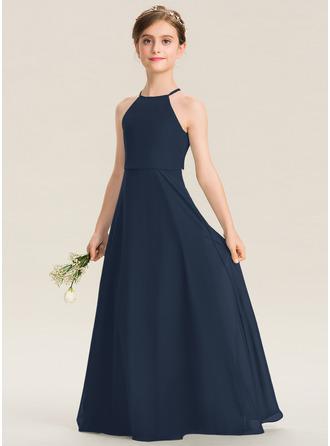 Çan Yuvarlak Yaka Uzun Etekli Şifon Küçük Nedime Elbisesi