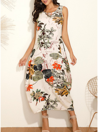 Floral Print Shift Sleeveless Maxi Casual Vacation Tank Dresses