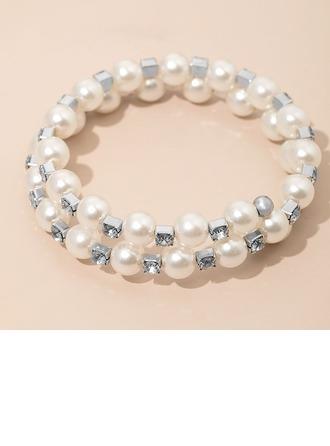 Elegant Alloy With Pearl/Rhinestone Ladies' Bracelets